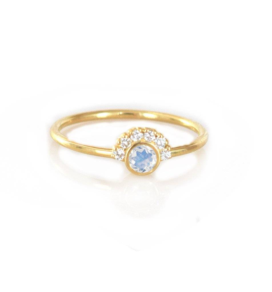 La Kaiser 14KT Gold Rainbow Moonstone Aztec Ring, Size 7