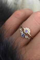 14KT Gold Rainbow Moonstone Aztec Ring, Size 7