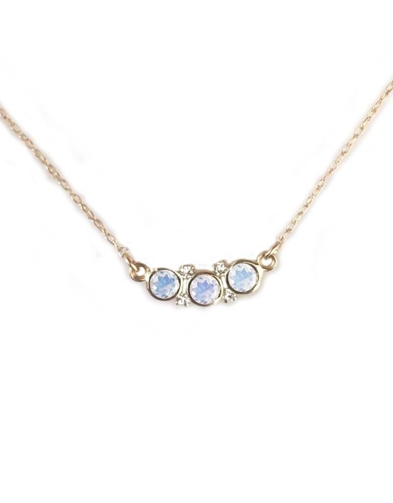 14KT Gold Rainbow Moonstone and Diamond Galaxy Pendant