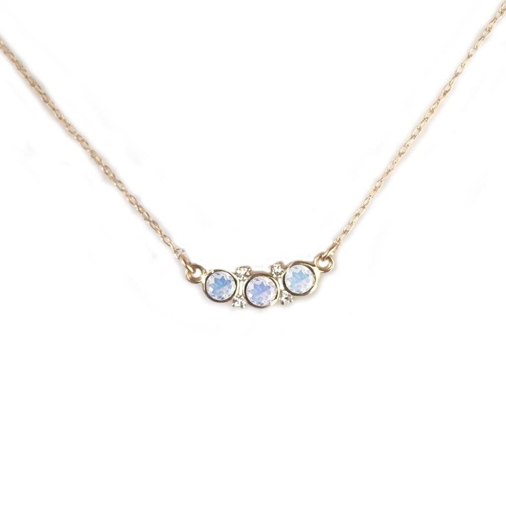 La Kaiser 14KT Gold Rainbow Moonstone and Diamond Galaxy Pendant