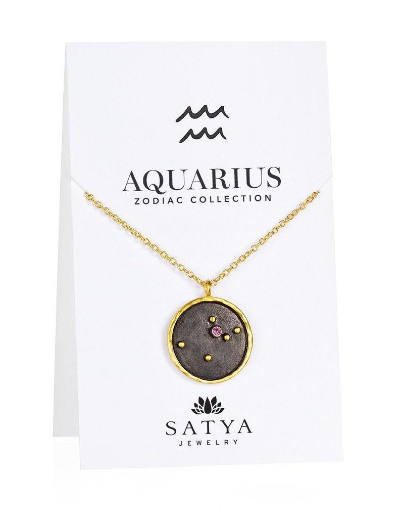 Gold & Rhodium Aquarius Zodiac Necklace