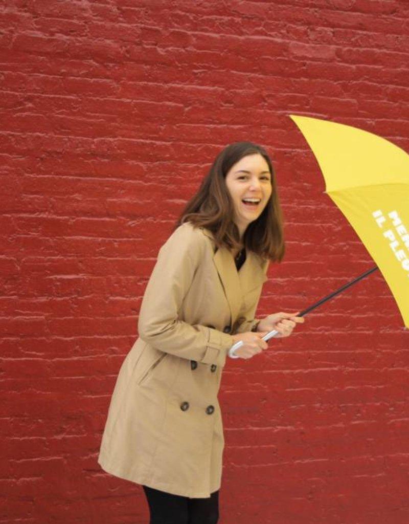 CarefulPeach Boutique Yellow Umbrella with White
