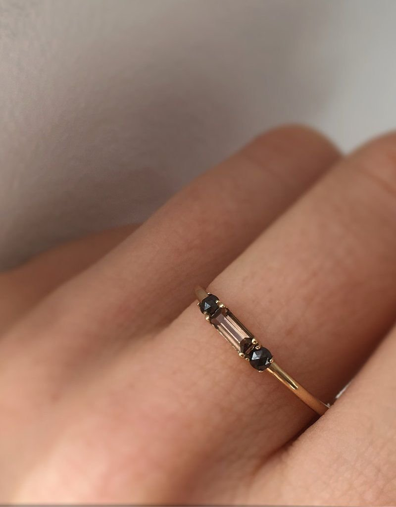 Smoky Quartz and Black Diamond Baguette Crush Ring
