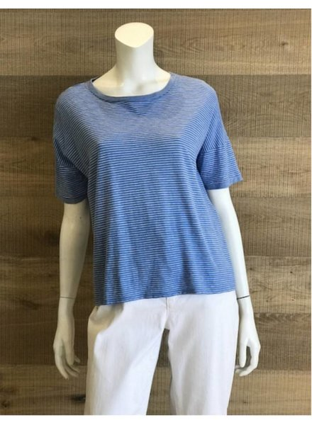 Eileen Fisher Hemp Organic Cotton Skinny Stripe Jewel Neck Box Top