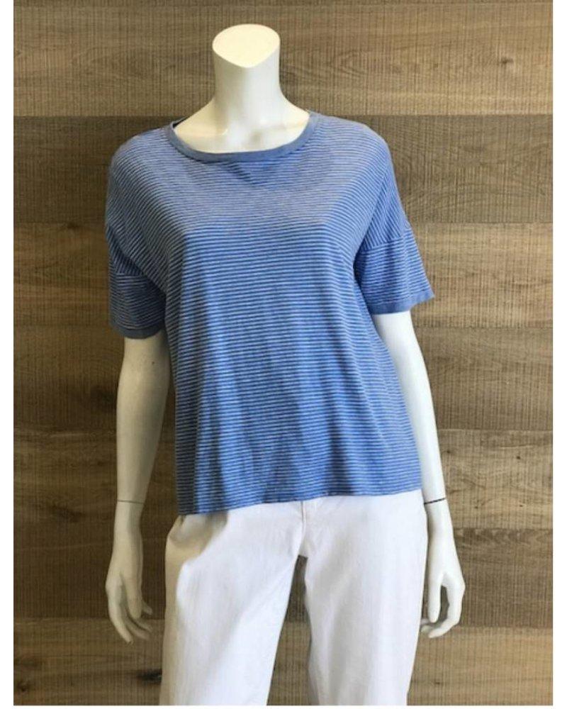 Eileen Fisher Hemp Organic Cotton Skinny Stripe Jewel Neck Box Top