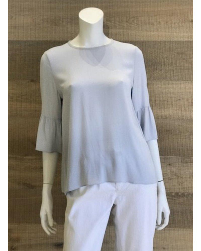 Eileen Fisher Silk Georgette Crepe Round Neck Top w/ Flutter Sleeve