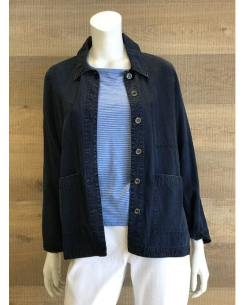 Eileen Fisher Tencel Organic Cotton Denim Classic Collar Jacket