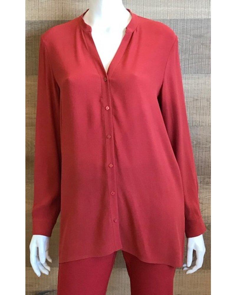 Eileen Fisher Silk Georgette Stand Collar Top