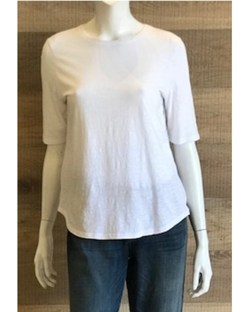 Eileen Fisher Slubby Organic Cotton Round Neck Elbow Sleeve Top