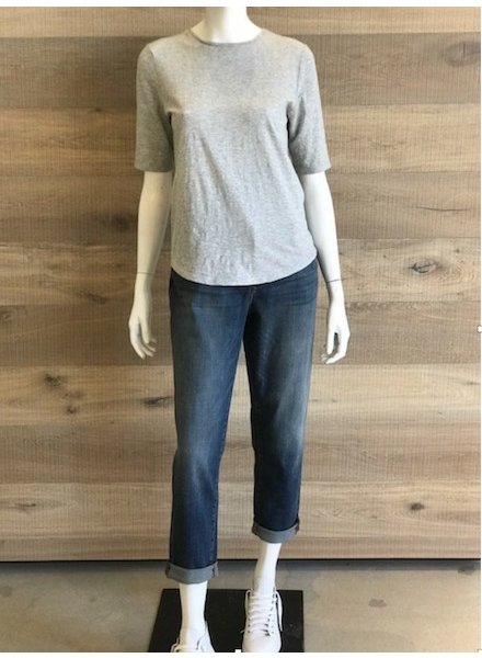Eileen Fisher Slubby Organic Cotton Jersey Melange Elbow Sleeve Top
