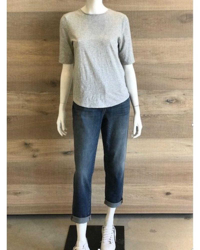 Eileen Fisher Slubby Organic Cotton Jersey Melange Elbow Sleeve Top