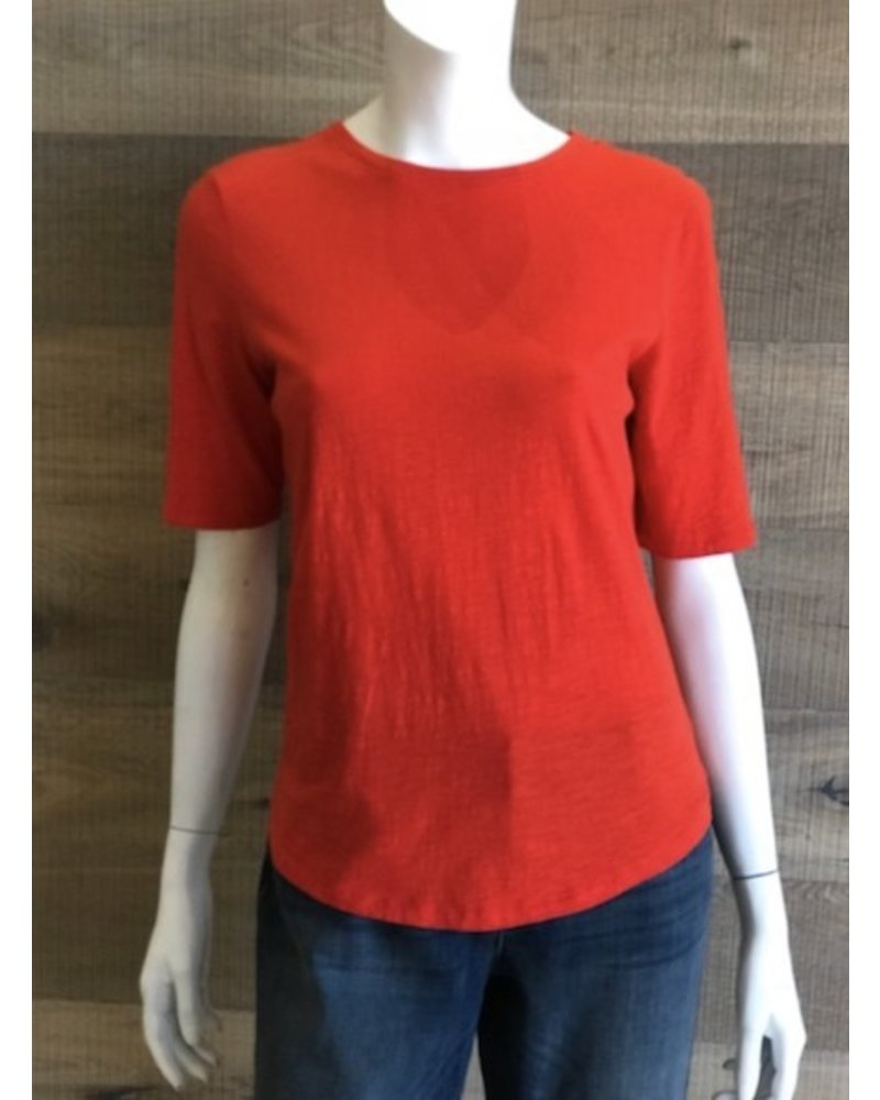 Eileen Fisher Slubby Organic Cotton Jersey Round Neck Elbow Sleeve Top