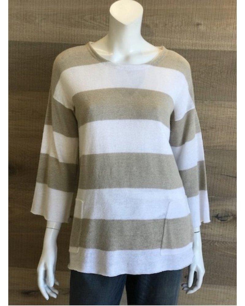 Eileen Fisher Organic Linen Knit Round Neck Bracelet Sleeve Top