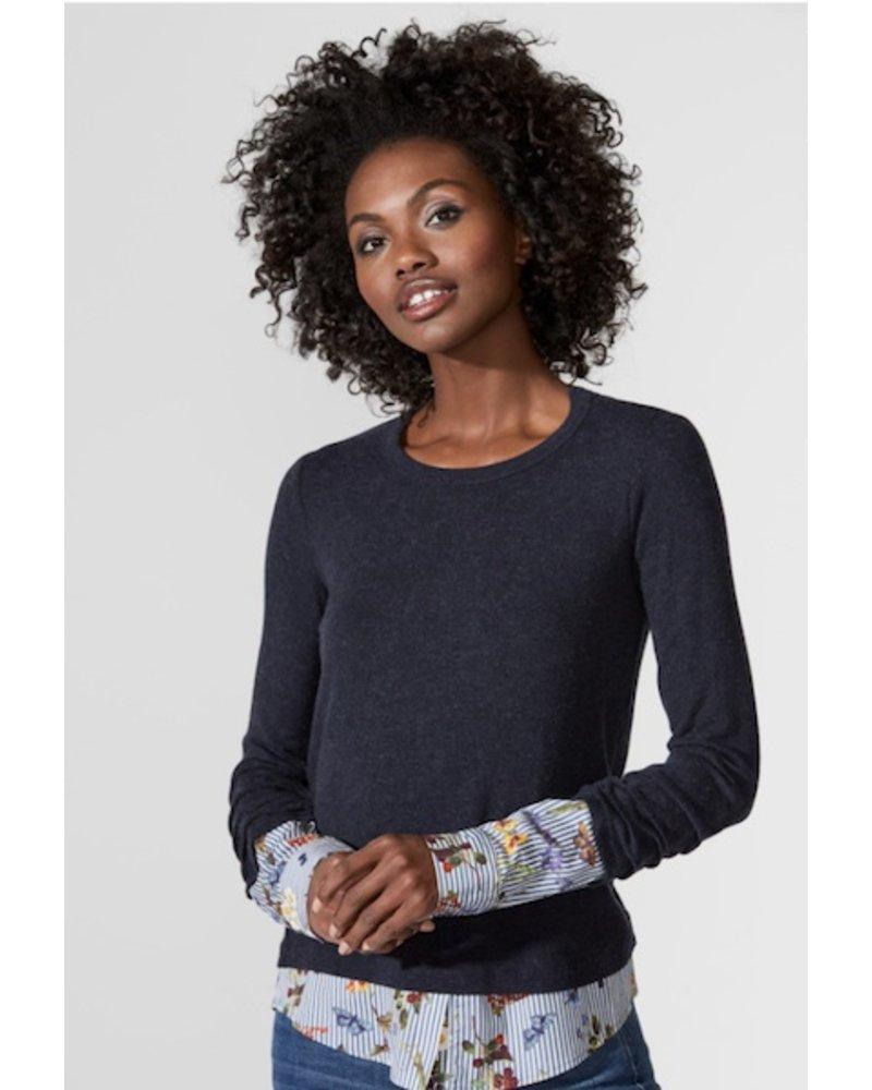 Green Thumb Floral Stripe Sweater