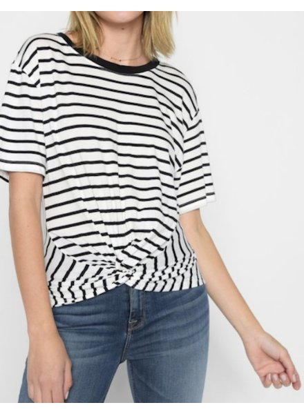 7 For All Mankind Knotted Front Stripe Tee