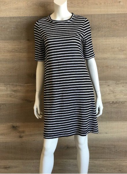 Eileen Fisher Organic Linen Jersey  Stripe Black + White