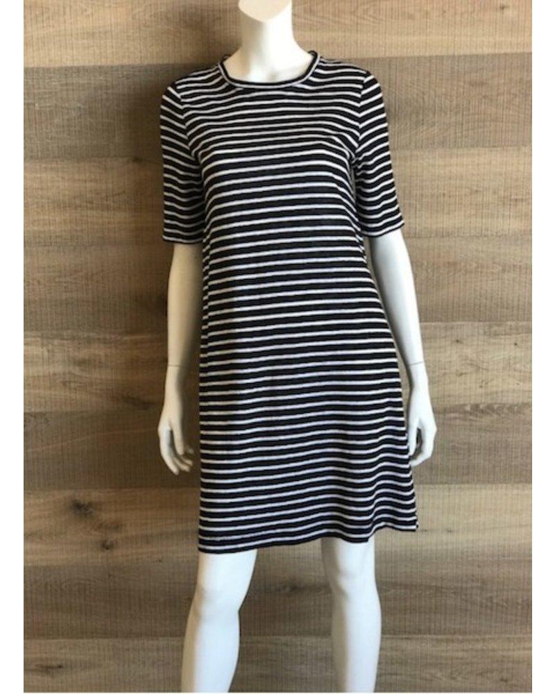 Eileen Fisher Organic Linen Jersey  Stripe Black + White