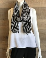 Eileen Fisher Optical Squares Silk Cotton Scarf