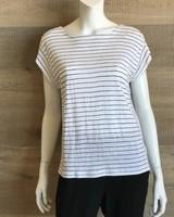 Eileen Fisher Organic Linen Thin Stripe Jersey Bateau Nk Top