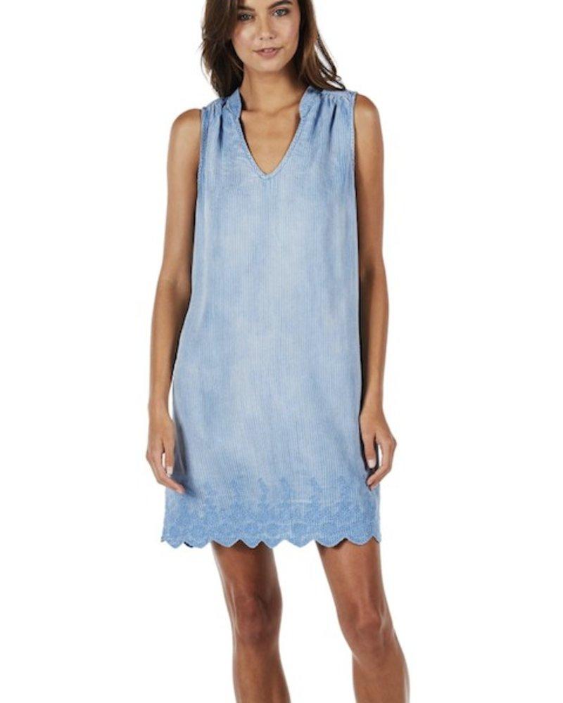 Michael Stars Linen Denim Tencel Sleeveless Back Lace Dress