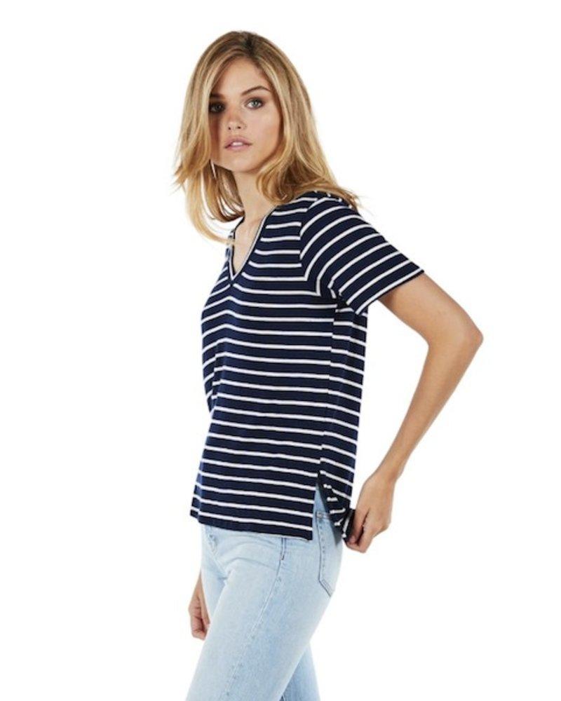 Michael Stars Madison Brushed Stripe Short Sleeve V-Neck