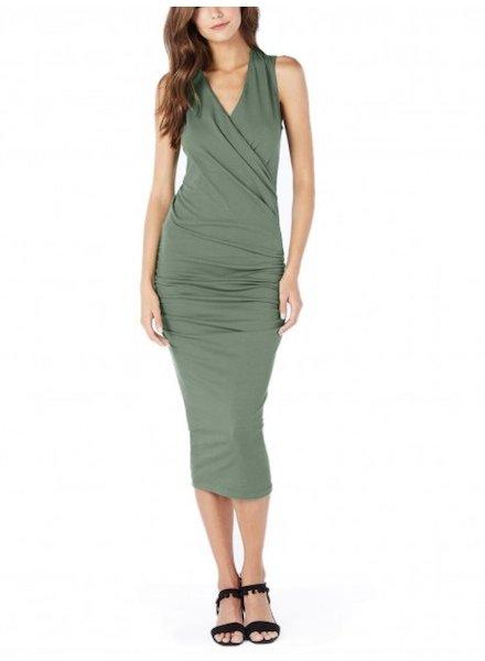 Michael Stars Cotton Lycra Sleeveless Crossover Dress