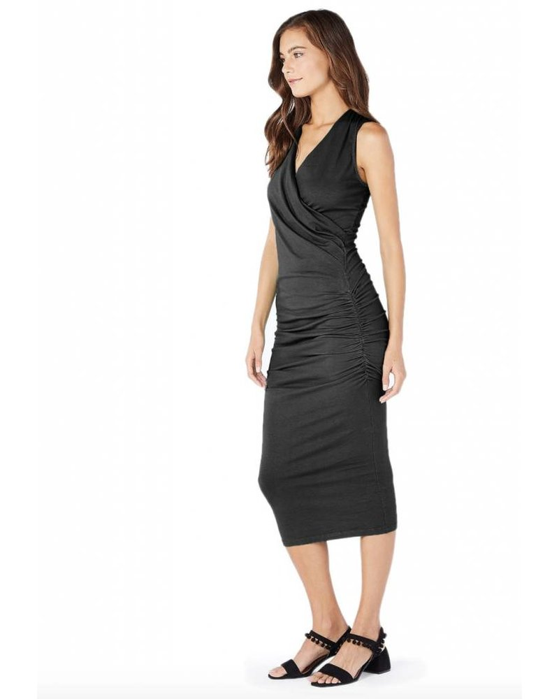 Michael Stars Cotton Lycra Sleeveless Crossover Dress