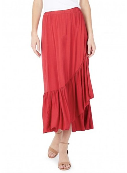 Michael Stars Rylie Rayon Wrapped Midi Skirt