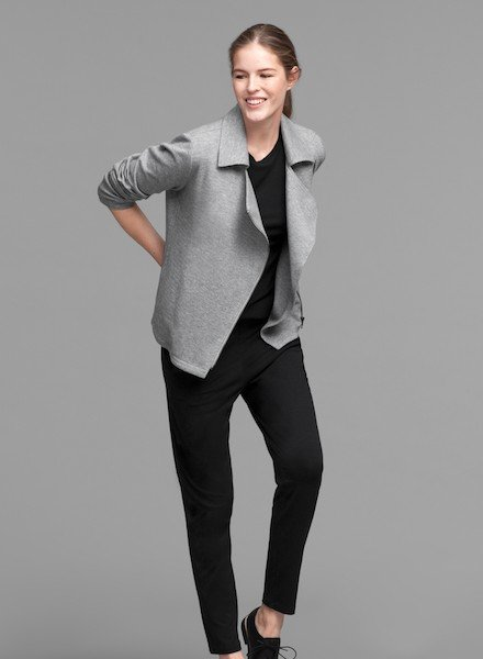 Eileen Fisher Org. Cotton Herringbone Knit Moto Jckt
