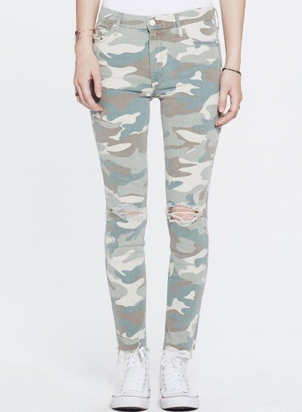 Mother Denim Camo HW Looker Ankle Fray