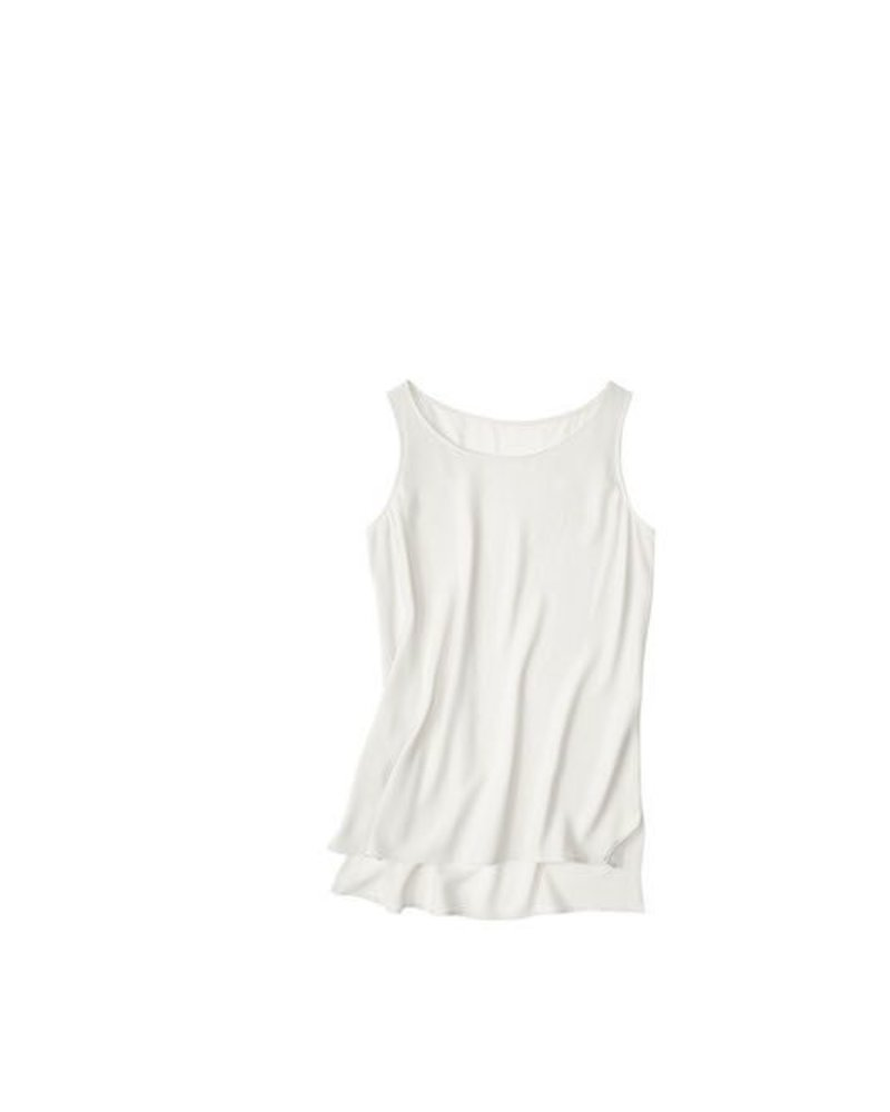 Eileen Fisher Silk Georgette Crepe Bateau Neck Long Shell