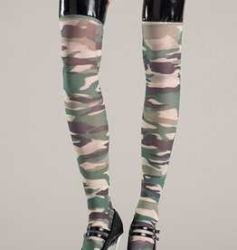 Be Wicked Camouflage stockings with vinyl tops.