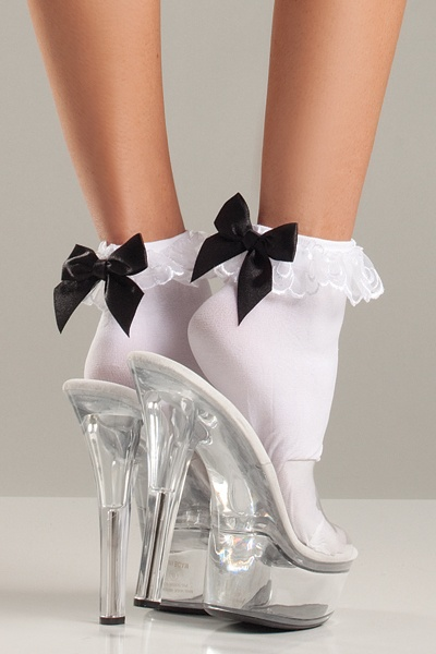 Be Wicked Ruffle-top and Satin Bow Anklets (One Size only)