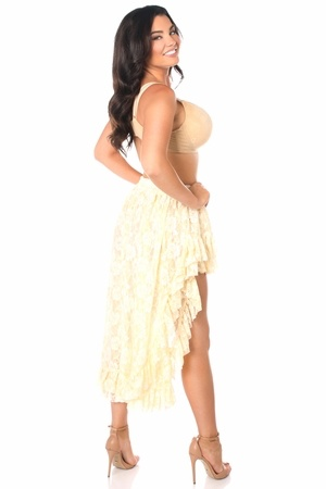 Daisy Corsets Cream Lace High Low Lace Skirt