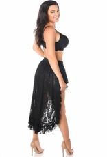 Daisy Corsets Black Lace High Low Lace Skirt