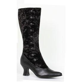 "Ellie Shoes 2.5"" Heel Boot Buttons Blk Velvet"