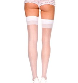 Music Legs White Backseam Thigh High