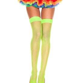 Music Legs Neon Yellow Spandex Fishnet Thigh High