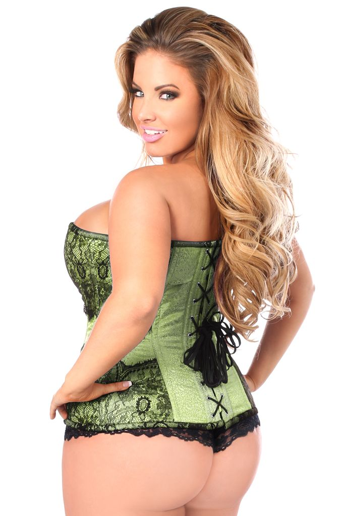 Daisy Corsets Fullbust corset made of premium brocade fabric trimmed in eyelash lace