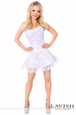 Daisy Corsets Daisy LV-624 Wht/Slvr. Lace Corset Dress