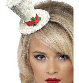 Smiffy's Smiffy's 22046 White Top Hat With Holly On Headband