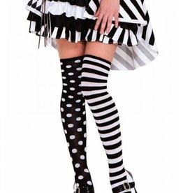 Music Legs Music Legs 4604 Polka Dot & Striped Thigh High