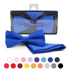 Selini New York Selini Poly Satin Banded Bow Tie W Pocket Square assorted colours