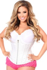 Daisy Corsets Plus Size White Brocade Steel boned Underbust