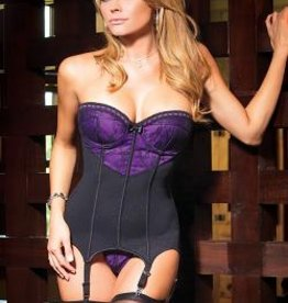 Coquette International Bustier & G-string blk/purple
