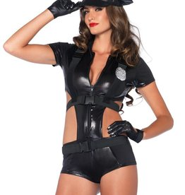 Leg Avenue 2 pc Officer Booty On Duty romper with attached harness, belt and hat