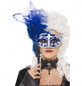Smiffy's Smiffy's 35062 Blue Black Masquerade Mask On Handle