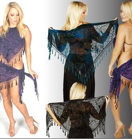 Western Fashion Beaded Burnout Triangle Scarf