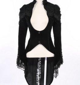 Western Fashion Gothic Victorian Coat with Tuxedo Back Flap
