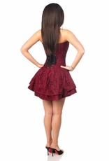 Daisy Corsets Top Drawer Wine Lace Steel Boned Ruffle Corset Dress